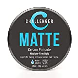 Challenger Men's Matte Cream Pomade, 1.5 Ounce | Natural Finish, Clean & Subtle Scent | Medium Firm Hold | Best Water Based Hair Styling Paste, Wax, Fiber, Clay, Gel All In One