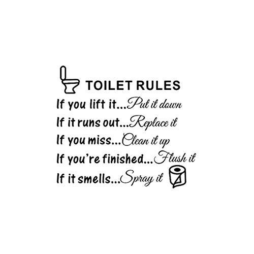 Adesivos de parede com padrão de letras, regras de vaso sanitário, citação de banheiro, banheiro, banheiro, PVC, decalques, arte de parede removível para decoração de casa