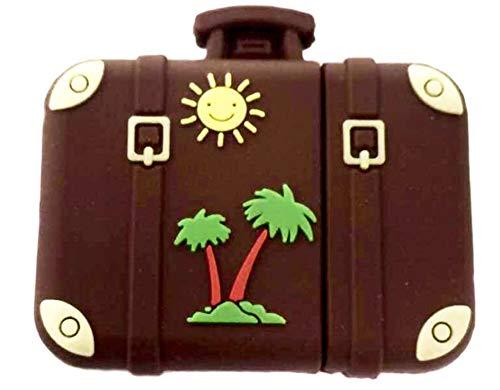 Valigia Vintage retrò Sole e Palma Viaggio 16GB - Travel Suitcase - Chiavetta Pendrive - Memoria Archiviazione dei Dati - USB Flash Pen Drive Memory Stick - Design Originale Unico