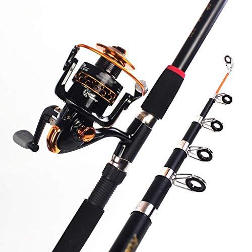 HXCD Juego de caña de pescar de caña de pescar y carrete de spinning Combo de fibra de carbono telescópica y carrete de metal para adultos de viaje de agua salada y caña de pescar de agua dulce