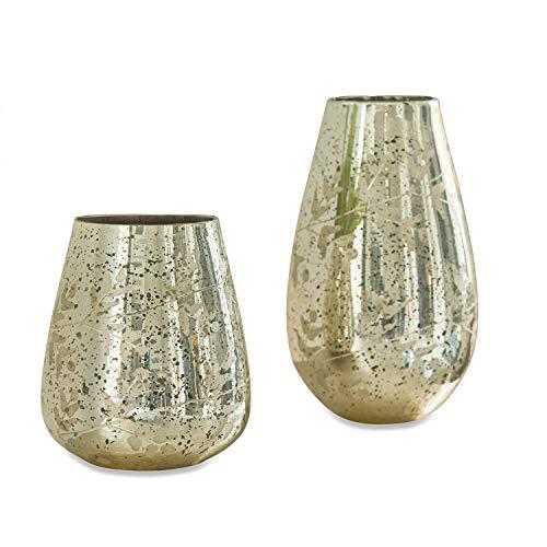 Loberon Vase 2er Set Celsoe, Glas, Silber