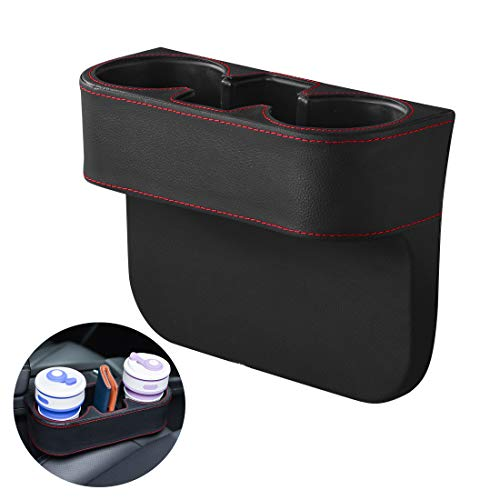 Xcellent Global Car Cup Holder Organizer, Car Side Seat Organizer with Leather Cover, Bottle Mount Stand, Portable Universal Stopper Storage Box for Cellphones Bottle Keys Cards Wallets AT064
