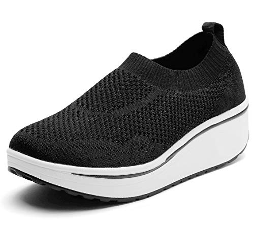 DADAWEN Women's Slip On Breathable Walking Shoes Comfort Fitness Wedge Platform Sneakers Black US Size 12