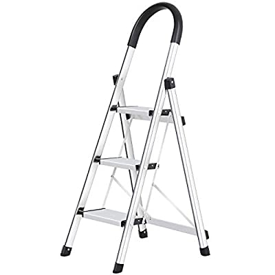 Lionladder 3 4 Step Stool Aluminum Ladder Portable Folding Anti-Slip with Rubber Hand Grip 330lbs Capacity,Silver Household Stepladders