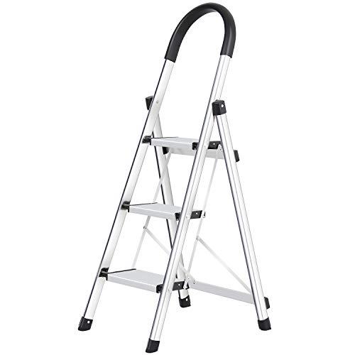 Trittleiter 3 Stufen klappbar, Alu Sicherheits Stehleiter, Tragbare Faltet Rutschfest Mit Gummihandgriff Belastbar bis 150 kg, Silber Haushalt Stufenleitern