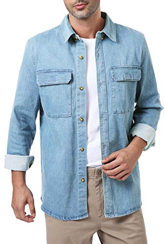 AIRBONE LEATHERS Quilted Lined light Denim Shirt Jacket Light Blue