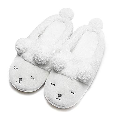 GaraTia Warm Indoor Slippers for Women Fleece Plush Bedroom Winter Boots White Open Back 7-8.5