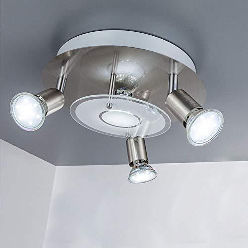 DLLT Modern Ceiling Spot Lights Fixtures 4-Light Round Flush Mount Directional Lighting, Adjustable Track Lighting Kits for Kitchen Hallway Living Room, Warm White GU10 Bulbs Included, Nickel Steel
