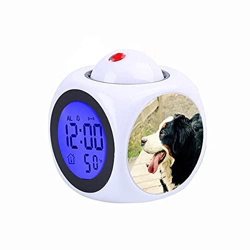 FDC LCD-digital LED-projektionsklocka i samtal med rötttermometerfunktion skrivbord svartbrun och vit lång kappa medelstor hund nära brunt trä