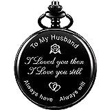 ManChDa Reloj De Bolsillo Grabado Personalizado para Regalo De Marido, Relojes De Bolsillo De Cuarzo Vintage con Cadena para Hombre, Día De San Valentín