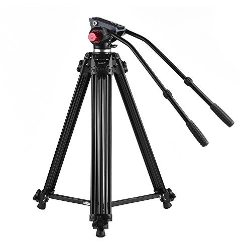 Andoer Professional Fluid Head Tripod with Dual Handled, 67inch/170cm Max Load 10kg Portable Video Camera Tripod for Canon Nikon Sony DSLR Camera Camcorder