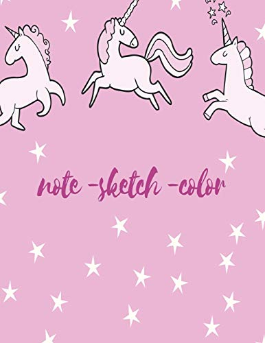 Unicorn Notebookand Sketchbook and Colorbook 3 IN 1: Large Sketchbook and Journal for Girls Age 4-8, Size (8,5'x11') Over 100 sheets of Unicorn themed ... Perfect Dairy gift for Girl or Boy 8-12