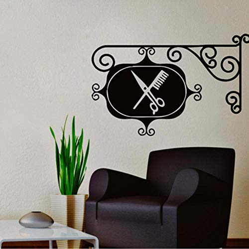Fjsabfj Barber Logo Sing Board Calcomanías de pared Salón de belleza Tijeras de vinilo Peine Arte Mural Peluquería Corte de pelo Etiqueta interior 42X64Cm