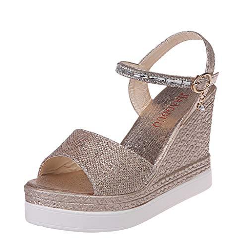 LENXH Women's Sandals Casual Wedge Shoes Buckle Fashion Shoes Simple Sandals Summer High Heel Sandals Gold