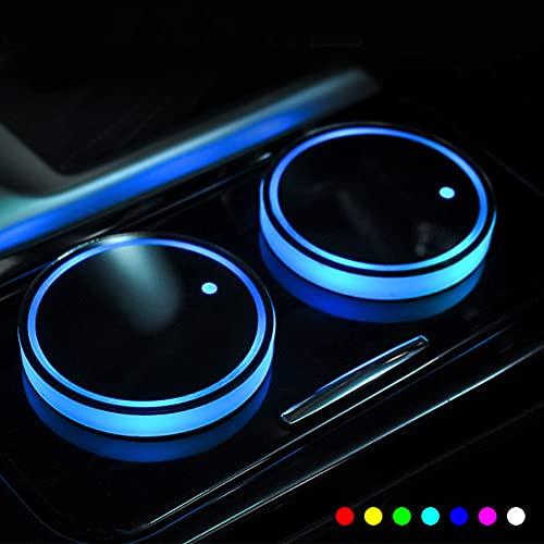 KNMY Sottobicchiere di LED, 2 Pezzi 7 Colori Tampone di Bicchiere Luminescente Tappetino Ricarica USB per Bevande Portabicchieri Auto Accessori Decorazione d Interni Luce Atmosferica