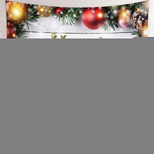 Tapiz de Navidad para colgar en la pared, colcha de mesa 'Merry Christmas' con bolas de tapiz para dormitorio de 192 x 192 cm