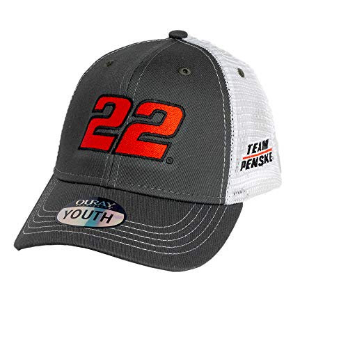 Ouray Sportswear NASCAR Youth Sideline Mesh Cap Joey Logano, Dark Grey/White, Adjustable