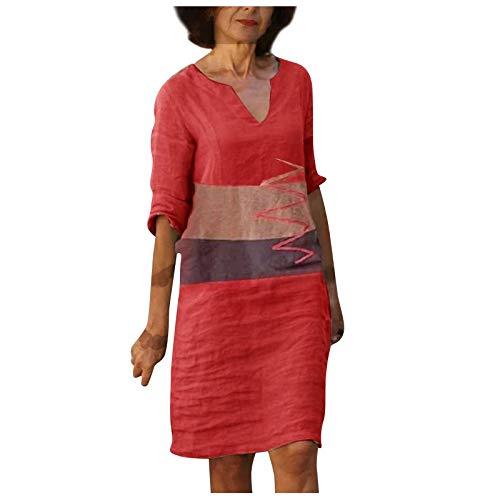 OPAKY Vestido de verano para mujer, elegante escote en V, vestido Midi, vestido de fiesta, vestido de noche rojo S