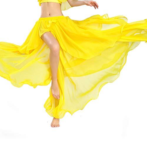 ROYAL SMEELA spódnica do tańca brzucha kobiety spódnice maxi szyfon rozdzielona duża spódnica z huśtawką sukienki tancerz taniec trening kostiumy seksowna moda wydajność odzież jeden rozmiar ŻÓŁTY Jeden rozmiar