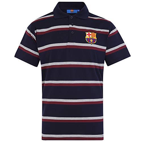 FC Barcelona Herren Polo-Shirt mit Streifen - Offizielles Merchandise - Geschenk für Fußballfans - Dunkelblau - L