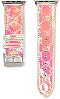 38/40MM Compatible Apple Watch Straps, Luxury Fashion Monogram PU Leather Classic Wrist Bands for Women and Men, Replacement for Apple Watch Series 5 4 3 2 1 38mm (fit for 40mm) (Magic Pink)
