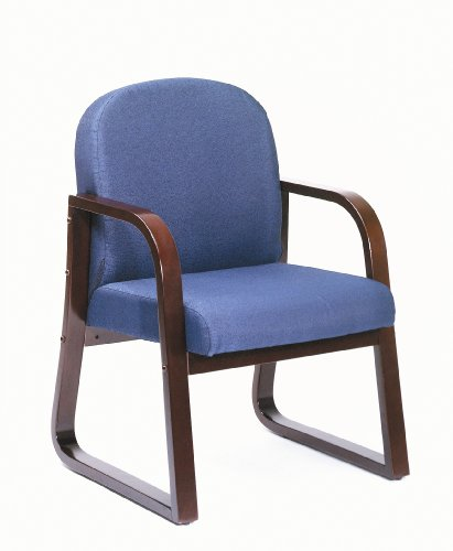 Boss Office Products Mahogany Frame Fabric Side Chair in Blue