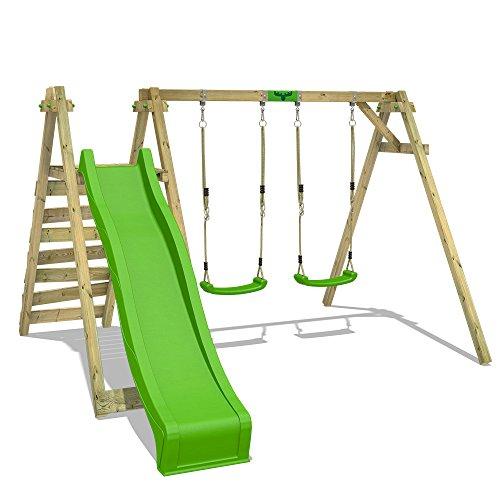 FATMOOSE Balançoire pour enfants JollyJay Fast XXL Portique de balançoire en bois avec 2 sièges, plateforme et toboggan