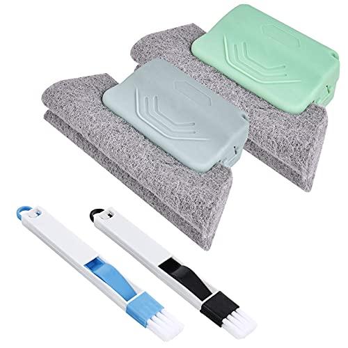 2 Piezas Cepillo de Limpieza de Ventanas + 2 Piezas 2 en 1 Cepillo de Limpieza Multifuncional, Limpiador de Ranuras,Cepillos de Limpieza Mágicos para Limpiar Ventanas, Teclados y las Esquinas y Huecos