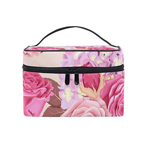Maquillage sac cosmétique stockage de fleur rose portable avec fermeture à glissière
