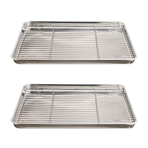 Yummargot Baking Pan Set [2 Pans + 2 Racks] Stainless Steel Cookie Baking Pan Non-toxic Easy To Clean Size 16 x 12 x 1 Inch
