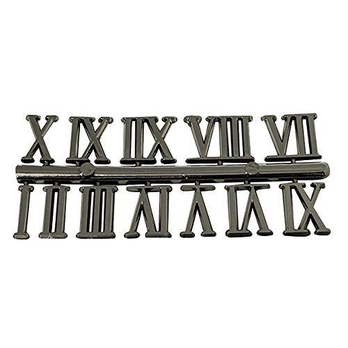 Selbstklebende Uhrenziffern, schwarz & gold, Kunststoff, Zahlen / römische Ziffern / Punkte / Striche, Silver Roman 22mm High