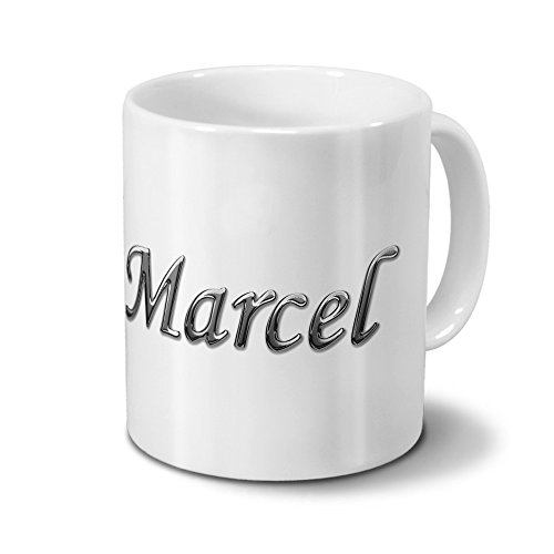 printplanet Tasse mit Namen Marcel - Motiv Chrom-Schriftzug - Namenstasse, Kaffeebecher, Mug, Becher, Kaffeetasse - Farbe Weiß
