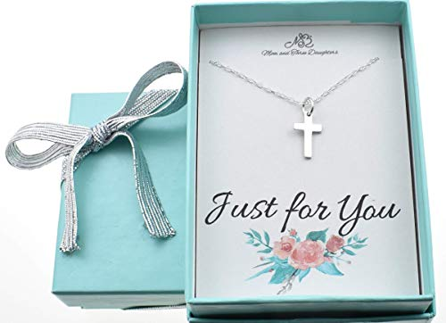 Tiny Cross Necklace in Sterling Silver on a 14 Inch Cable Chain. Christian Gifts. New Baby Girl Gift. Shower Gift.