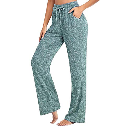 Pantalones Anchos Mujer Pantalon Palazzo Mujer Pantalones Rectos Casuales Mujer Tallas Grandes Pantalón Deporte Mujer Pijama Pantalon Gimnasio Largo Mujer Yoga Pants Mujer Wide Leg Mujer Verde 5XL