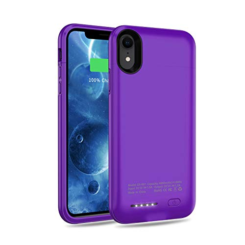 Battery Case for iPhone XR, 4000mAh Rechargeable Charging Case Portable Extended Battery Charger Case Cover Compatible with iPhone XR (6.1 inch) Backup Power Case, Purple