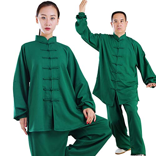 fwadu Tai Chi Traje Hombre Mujer Transpirable Estilo Chino Tai Chi Uniforme Artes Marciales Ropa Kung Fu Ropa Wing Chun Uniforme,Green-XXXL