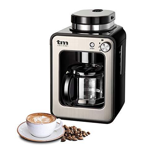 TM Electron Mini-Kaffeemaschine mit Kaffeemühle, 4Tassen, für Kaffeebohnen, 600W, waschbarer Filter silber