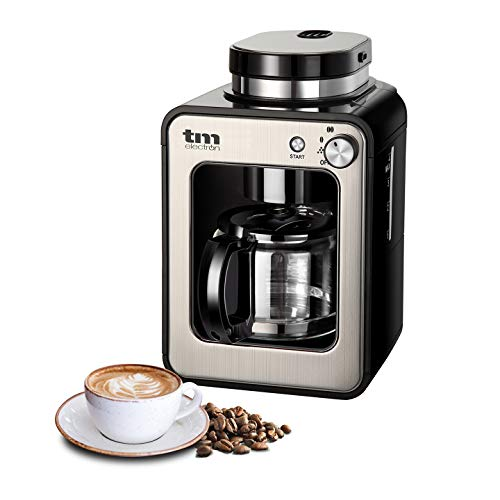 TM Electron TMPCF020S Mini cafetera de Goteo con Molinillo Grano, 4 Tazas, 600W y Filtro Lavable Compatible con café molido, 600 W, 6 Cups, Acero Inoxidable, Plata