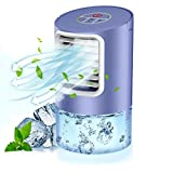 QUARED Personal Air Cooler, 3 in 1 Portable Air Conditioner, Mini Mobile Cooling Fan and Humidifier, Small Space Evaporative Cooler with 7 Colors Lights, Timer, 3 Speeds for Home Office (Purple)