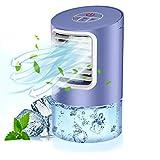 QUARED Mobile Klimagerät Klimaanlage Luftkühler tragbar Ventilator Luftbefeuchtung, 2 Timing, 3 Windgeschwindigkeiten,7 LED Luftkühler Klein für Zuhause und Büro