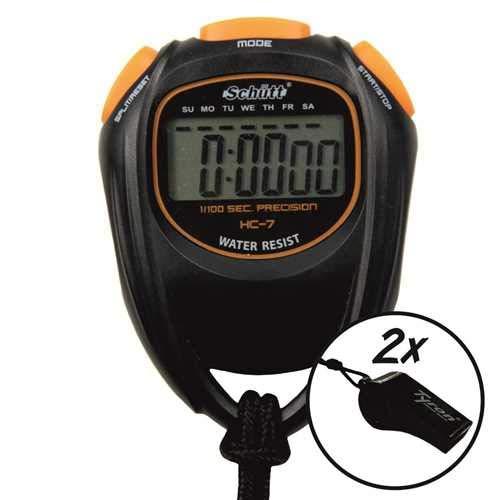 Schütt Stoppuhr HC-7 - Digitale Stoppuhr mit großem Display | guter Druckpunkt | Hobby | Sport | Freizeit | spritzwasserfest | für Kinder geeignet - Auswahl: mit 2X Trillerpfeife