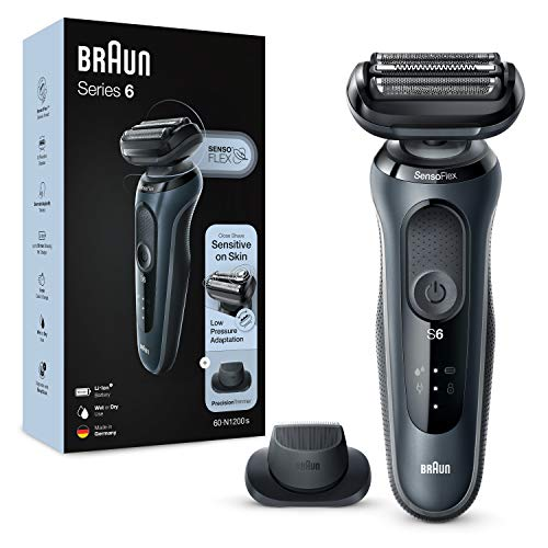 Braun Series 6 60-N1200s Rasoio Elettrico Barba con Rifinitore di Precisione, Wet&Dry, Ricaricabile, Rasoio a Lamina senza Fili, Grigio