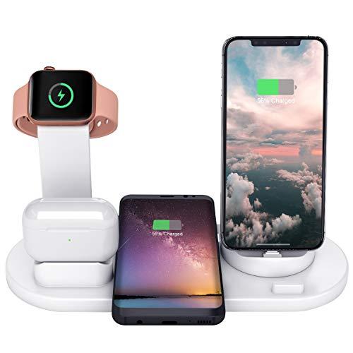 Wonsidary 6 in 1 Caricatore Wireless, Caricabatterie Senza Fili per iWatch 5/4/3/2/1 & Airpods Pro/2/1, Ricarica Rapida Wireless per iPhone 11/11 PRO/XS/XR/X/8, Samsung con Una Porta di Uscita USB