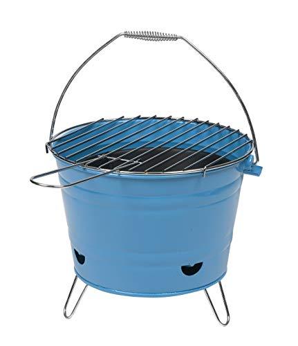 Ondis24 Grilleimer Arlington, Grill mit Henkel, Minigrill mit Belüftung, Eimergrill Ø27cm, Tischgrill 3 Füße Grillkorb (blau)