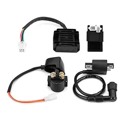Qiilu-Spule + CDI-Einheit + Gleichrichterregler + Magnet Hochleistung für 150ccm 250ccm PIT Quad Dirt Bike ATV Buggy (schwarz)