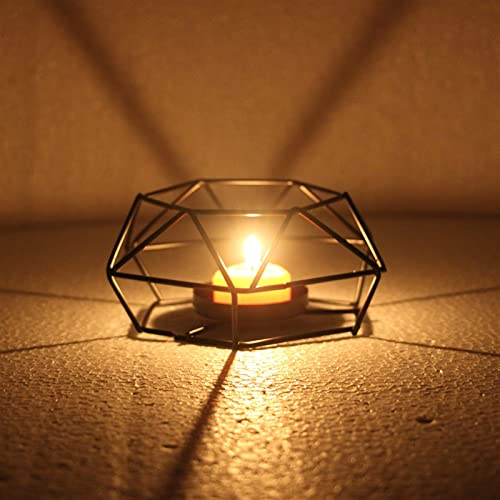 LCISCOUP Candelero 2 unids de candelabros de Vela Hexagonal Lámpara de té de Hierro Retro Tenedor de Vela Titular de Vela Linterna Linterna Decoración del hogar Candle Holder (Color : S)