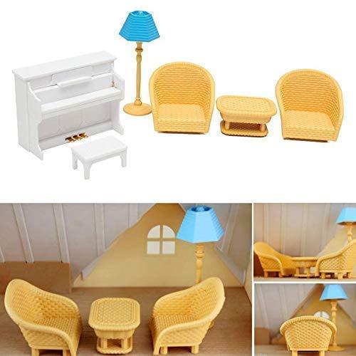 Gwill 1 juego/6 muebles juguetes casa de muñecas sofá mesa piano miniatura muebles para niños divertidos juegos de fingir juego de rol juguetes accesorios de regalo para niños