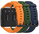 TenCloud Bands for Honor Band 6 Wristband Compatible with Huawei Honor Band 6 Smartwatch, Waterproof Replacement Band Strap for Honor Fitness Tracker Band 6 (Orange+Dark Green+Nave Blue)
