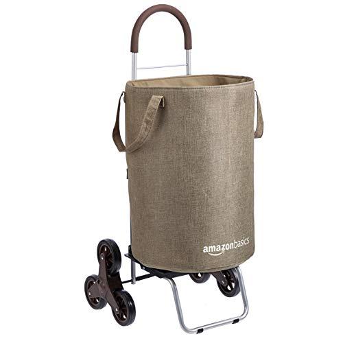 Amazon Basics Treppensteiger-Wäschewagen, umwandelbar in Sackkarre, 96,5 cm Griffhöhe, Braun