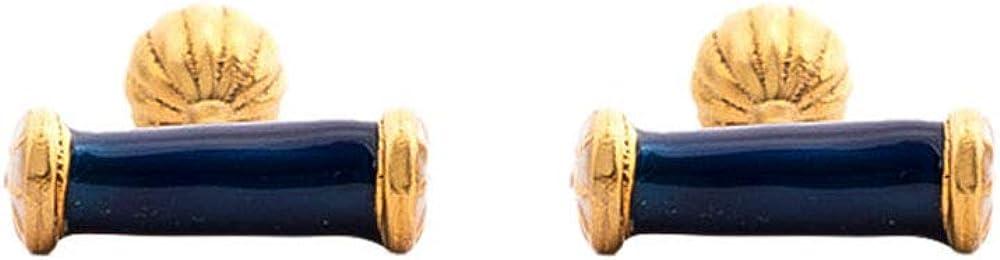 Rosec Jewels Vintage Blue Amara Long Post Cufflinks, Engraved Gold-Plated Wedding Cufflink Mens, Unique Groom Brass Cufflink Jewellery, Custom Groomsman Cuff Links
